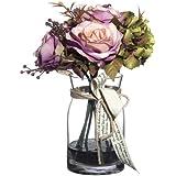 Composizione di fiori artificiali, rosa in vetro, altezza: 30 cm