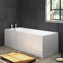 1700mm Single Ended Bath Luxury Bathroom Straight White Bathtub + Panel BL135