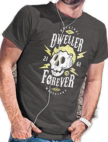 Fallout Maglietta | Dweller Forever originale Wasteland Vault est. 2161-lerage Camicie da uomo Brown X-Large
