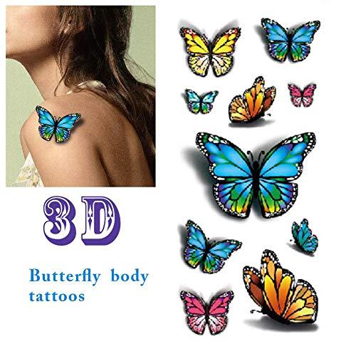 3D bunte Schmetterlings-Körperkunst-temporäre Tätowierungen imprägniern Aufkleber 5 Blätter