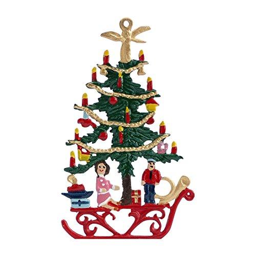 Zinngeschenke Tannenbaum beidseitig von Hand bemalt aus Zinn (HxB) 8,0 x 4,8 cm, als Christbaumschmuck, Baumbehang, weihnachtlicher Zierschmuck zum hängen.