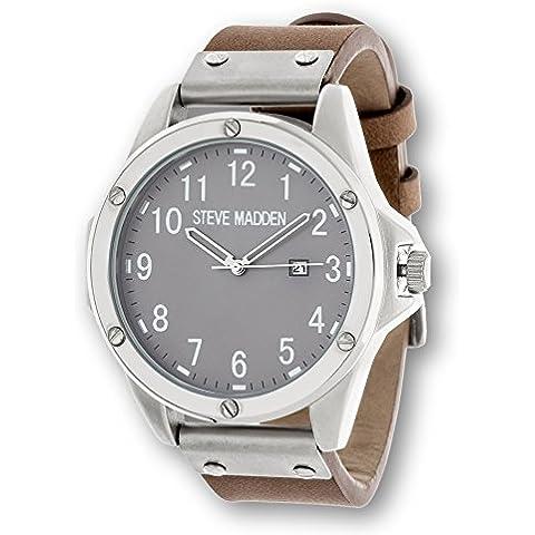 Steve Madden Hombre Lujo clásico Moda Reloj de acero inoxidable analógico con banda de cómodo de piel sintética marrón único para negocios