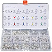 Elegoo 350PCs 3mm y 5mm Diffused y Clear Assorted LED Diodos Kit 5 Colores para Arduino