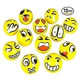 Bolas de Estrés 12 Piezas Blando Bola Emoji Feliz estrés dedo Herramienta de Terapia Ejercitador Alivio de la Mano del Juguete (Amarillo)