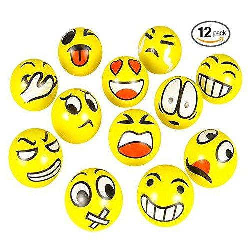 Stress Bälle 12 PCS Anti Stressball Emoji squeezy Bälle Smilies squishy Ball - Stress-bälle Emojis
