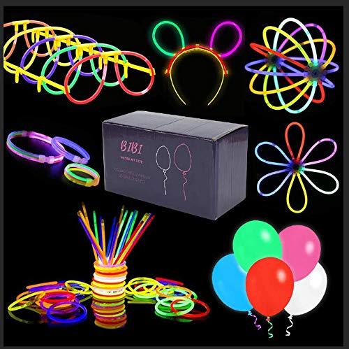 BIBIBIBIBI Party-Set, mehrfarbig, 100 Lichteffekte und 25 LED-Ballons – Dekoration für Abend, Hochzeit, Geburtstag, Weihnachten – leuchtende Armbänder mit LED-Luftballons, Zubehör für Jugendliche