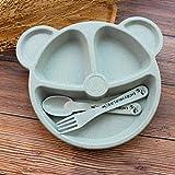 JullyeleDEgant Cubs Kinder Dinner Set Weizen Stroh Kreatives Geschirr Baby Teller Frühstück Tablett Zusatz Gabel und Löffel