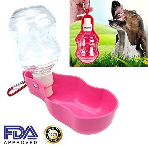 Too Goods Pet Travel Wasser Flasche Tragbar Hund Katze Trinkflasche Faltbar Wasser Spender Schüssel Wasserkocher für Outdoor Wandern/Walking, 8.5 oz, Rose -