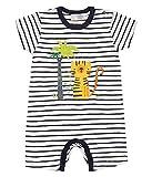 Sense Organics Baby-Jungen Spieler YOEKY Sommerspieler GOTS-Zertifiziert, Mehrfarbig (Navy Stripes + Tiger Appl. 290057), 56 (Herstellergröße: 0M)