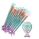 Pincel de nailon para maquillaje con purpurina de cola de pescado de sirena, cepillo de maquillaje creativo, multiusos, 11 unidades