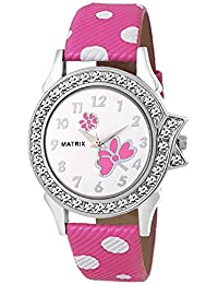 Matrix White Dial & Pink Leather Strap Analog Watch for Women's/Girls
