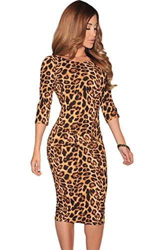Sommerkleid Damen Leopard Druck Low V Zurück 3/4 Ärmel Förmlich Midikleid Partykleider Kleidung (One Size, As Shown) (Kleid Sexy Leoparden-print)