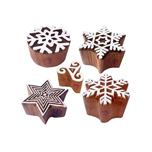 Royal Kraft Arty Crafty Designs Star und Schneeflocke Hölzern Blöcke Stempel (Set von 5) -