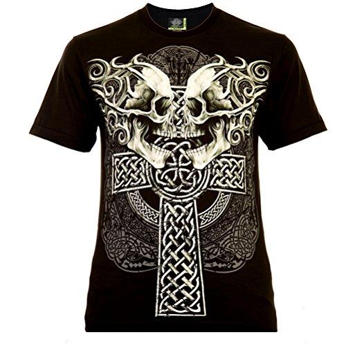 Celtic Cross with Skulls Herren T-Shirt Schwarz Gr. S Glow in The Dark (Cross In The Dark Glow)