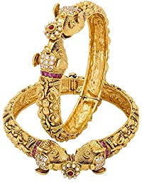 Adwitiya 24k Gold Plated Rich CZ And Ruby Stones Studded Elephant Designed Ethnic Bangle Set For Womens