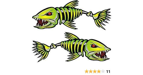 Reflektierendes 3m Set 4 Kajak Aufkleber Fischgräten Skelett Aufkleber Für Kanu Angeln Boot Wand Autozubehör 2 Stück Baumarkt