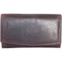 Grand portefeuille Green Valley, brun, pour femme, en cuir véritable résistant