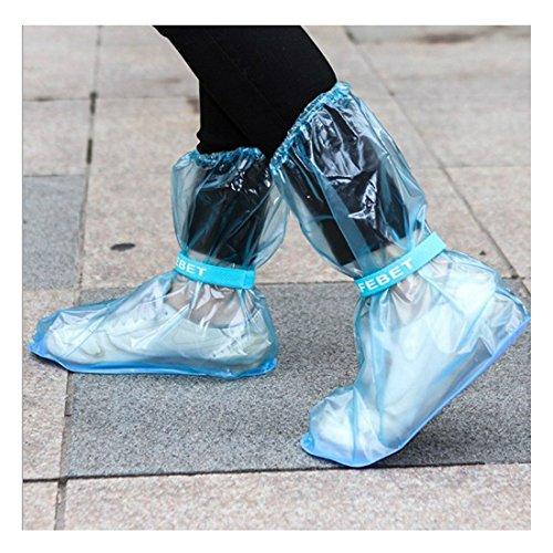 Andux scarpe impermeabili 1 paio riutilizzabile antiscivolo Covers Pioggia Neve Guardia pattini lunghi copertura Rain Boots Portatile YXT-03 Blu