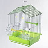 Wedestock Cage à Oiseaux avec bac Amovible et perchoirs Coloris Vert 30x27x39cm