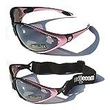 Ladgecom Lunettes de protection masque avec bande élastique adapté à toute condition météorologique pour vélo de course ou de sport d'hiver M Rose - rose