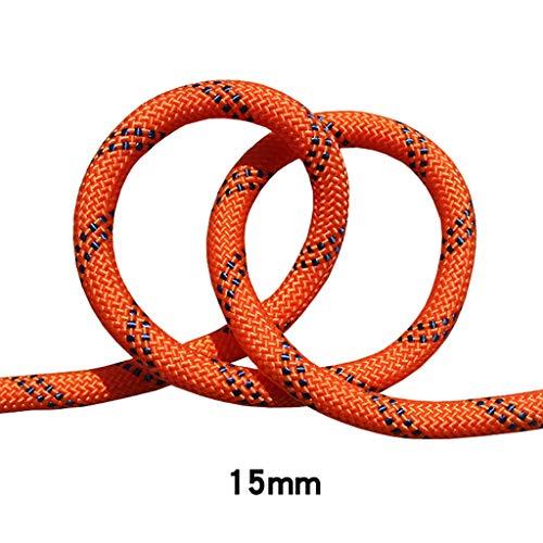 LIZIPYS Einfachseile Kletterseil Sicherheitsseil Speed   Drop Seil Kletterseil Luftarbeitsseil 15mm Durchmesser Orange schwarz (größe : 15m)