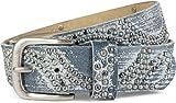 styleBREAKER cintura borchiata vintage con strass scintillanti e borchie rotonde, da donna 03010066, colore:90cm, colore:Jeans blu - Bianco