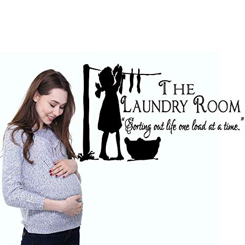 55 * 82cm Wall Decal Vinyl Sticker For Waschsalon Room Art Decoration One Girl Dry Clothes With Quote Home Creative Design Mural Poster