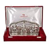 International Gift Silver Plated Laxmi Ganesh God Idol Murti with Velvet Box (4 cm x 18 cm x 18 cm)