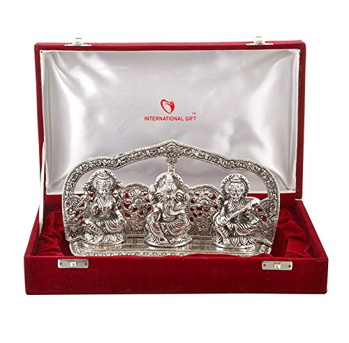 International Gift Silver Finish Laxmi Ganesh Sarswati God Idol With Beautiful Velvet Box Exclusive Gift For Diwali, Corporate Gift
