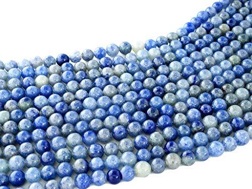 Beads Ok, Perline Pietra Gemma Semi Preziose Avventurina Blu Naturale Tondo Liscio 6mm, Circa 38cm Un Filo. Venduto da Filo. 6mm Round Natural Blue Aventurine Gemstone Beads