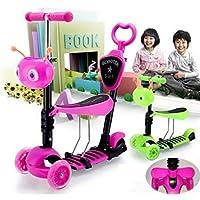 Patinete/moto 5en 1con ruedas intermitentes para bebés y niños, rosa