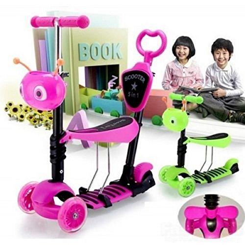 Patinete/moto 5en 1con ruedas intermitentes para bebés y niños