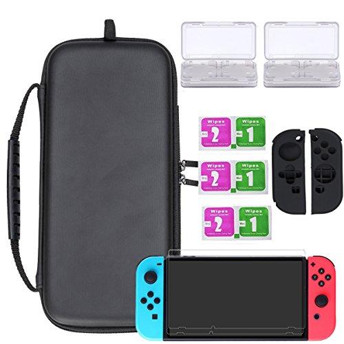Wemk Zubehörset für Nintendo Switch – Schutzset enthält schwarze Tasche, Spieleboxen, Displayschutzfolien, Silikonschutz für Controller, Reinigungskits