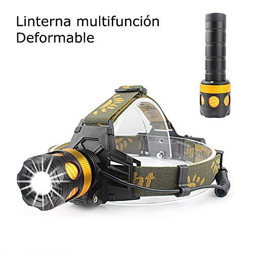 Linterna Frontal, Super Brillante LED Linterna de Cabeza Multifunción Puede ser Utilizado como una Linterna,para Acampar, Excursionismo, Aire Libre Contiene Cargador y Batería Recargable