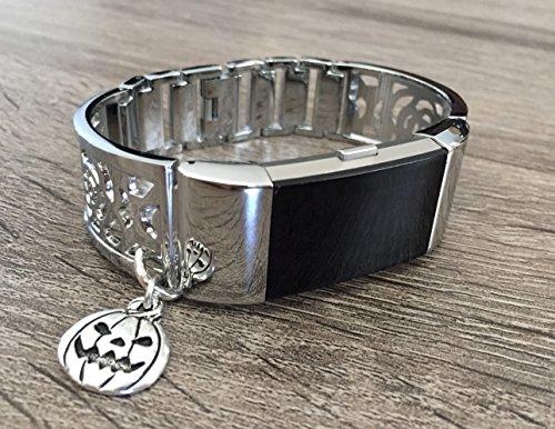 ür Fitbit Laden 2Fitness Tracker Blumen Design handgefertigt Accessory Jewelry Fitbit Laden 2Armreif Halloween Kürbis Laterne Charm verstellbare Größe Armband (Laden Halloween)