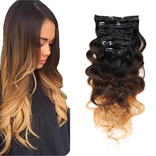 Double trame de cheveux humains extensions capillaires à clips Tête complète cheveux ondulés Blond Ombre Bordeaux cuivre rouge 7 20,3 cm -28 \\
