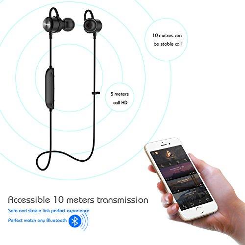 Vigorun Bluetooth Kopfhörer Y3 Kabellos Stereo Ohrhörer In-Ear Magnetisches Schnurlose Sport Ohrhörer Bluetooth V4.2 IPX6 Wasserdicht CVC 6.0 Noise Cancellation, für Sport und Workout(Schwarz) - 2