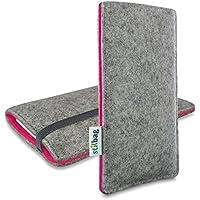 Stilbag maßgeschneiderte Handyhülle FINN - Anfertigung für Smartphones mit Case möglich | Farbe: hellgrau-pink | Smartphone-Tasche aus Filz | Handy Schutzhülle | Handytasche Made in Germany