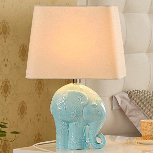 WYQLZ Elegante minimalista azul elefante de cerámica lámpara de escritorio dormitorio cabecera estudio de la sala de estar de la decoración de la lámpara de mesa de iluminación E27 , lámpara de mesa d