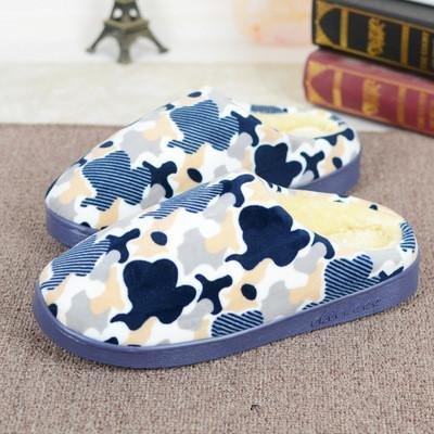LDMB Winter-Paket Tasche einfaches Plüsch Loofers unten weht Seite Schlitz Baumwolle Pantoffeln Blue