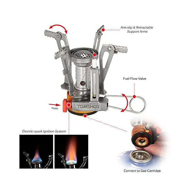 TOMSHOO Camping Stove/Backpacking Stove and windshield Backpacking Stove for Outdoor Hiking Picnic BBQ 5