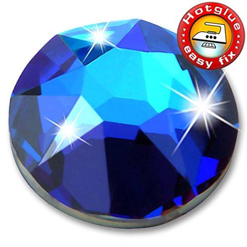 100 Stück SWAROVSKI 2078 XIRIUS Hotfix, Crystal Meridian Blue, SS16 (Ø ca. 4 mm), Strasssteine Blau zum Aufbügeln -