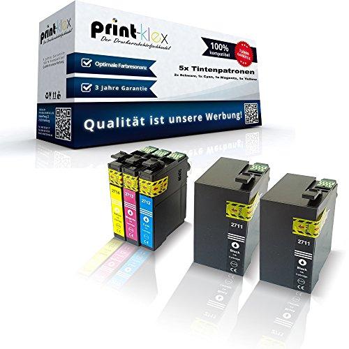 Preisvergleich Produktbild 5x kompatible XXL Tintenpatronen für Epson Workforce WF3620 WF Workforce WF3640 DTWF C13T27154010 T2715 T2711-T2714 Black Cyan Magenta Yellow - Print Pro Serie