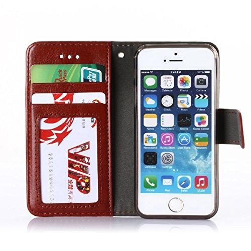 iPhone 6 Coque,Fodlon® Mode Portefeuille avec Emplacements de carte Étui pour téléphone Housse-Marron noir