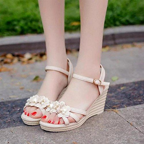 DM&Y 2017 scarpe da donna di moda estate degli alti talloni sandali del pendio con i sandali casuali delle donne della testa dei pesci White