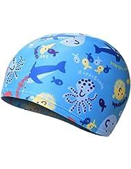 Moolecole Piscina Fresca Capuchón Protector de Orejas para Niños y el Cabello, Sombreros Coloridos de Natación con los Patrones de Animales Lindo Diseñó para Niños-Pescado Azul