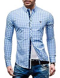 BOLF Herrenhemd Figurbetont Hemd Slim Fit Freizeithemd Langarm Kariert 4747-1