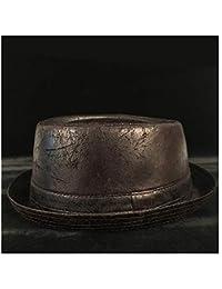 SCSY-Cappello Cappello da Uomo Autunno e Inverno in Pelle Nera Jazz Short  Short Hat ce602cbf2c35