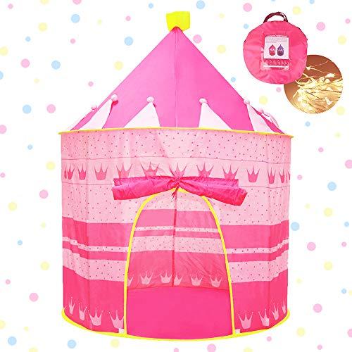 Opret Kinderzelt, Prinzessin Schloss Mädchen Spielzelt Kinderzimmer Zelt, Kinder Geschenke Zelt Zusammenfaltbar Pink Mädchen Spielzeug mit Tragetasche und Lichterkette für drinnen und draußen -