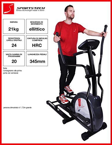 Sportstech CX630 Cross-trainer professionale con movimento ellittico di corsa, massa d'inerzia di 21 KG, 4x funzioni HRC - 20 programmi di allenamento - 24 livelli di resistenza - ellittica ergometro con stepper ad uso domestico